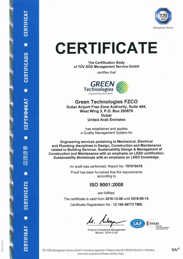 ISO - Green Technologies FZCO 2015