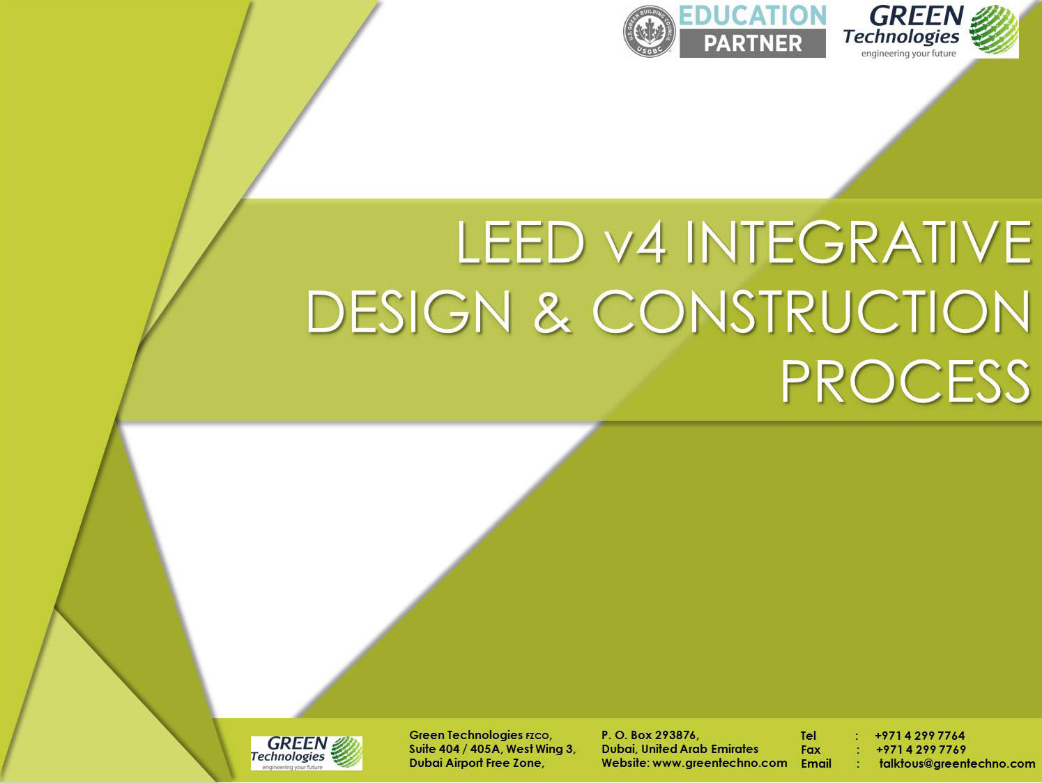 Leed V4 Integrative Design Construction Process Green Technologies