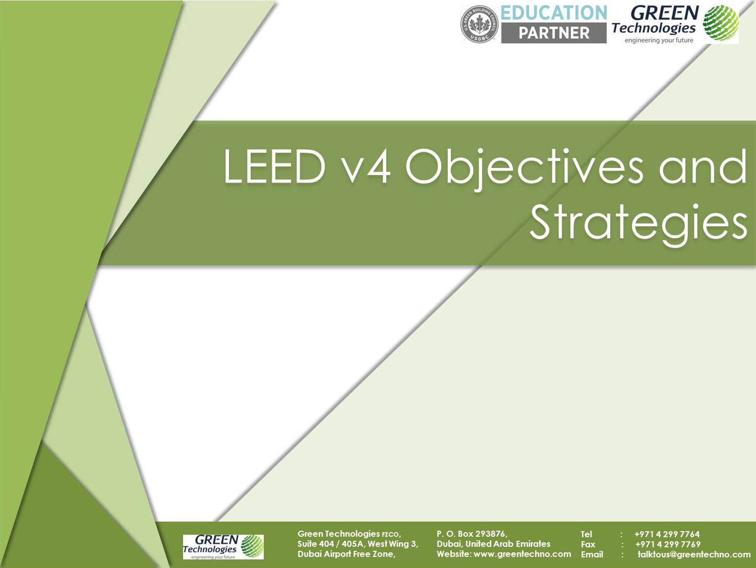 LEED v4 Objectives & Strategies