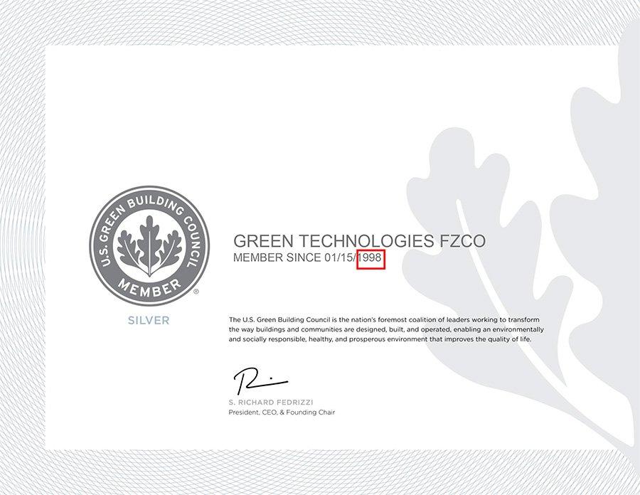 USGBC Membership Certificate